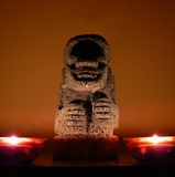 Ancient artifact. Korean stone ancient artifact with candle light Royalty Free Stock Photography