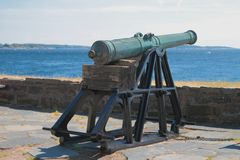 Ancient artillery cannon in fortress Kristiansholm. Kristiansand, Norway. 2018-07-11 royalty free stock images