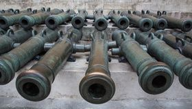 Ancient artillery Cannons Stock Image