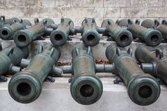 Ancient artillery Cannons Stock Images