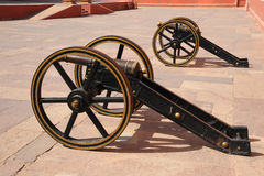 Ancient artillery at the city palace, Jaipur, India. Stock Photos