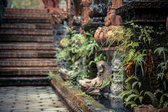 Ancient Asian style garden alley with old column overgrown with tropical plants and blurred background Royalty Free Stock Photo