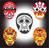 Ancient Asian style masks and skull  logo Royalty Free Stock Photography