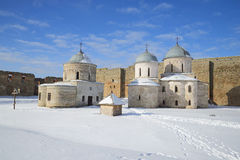 Ancient Assumption and St. Nicholas church in the Ivangorod fortress sunny winter day. Leningrad region Stock Photos