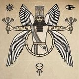 Ancient Assyrian winged deity. Character of Sumerian mythology.  Background - imitation of old paper. Stock Photos