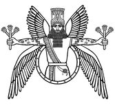 Ancient Assyrian winged deity. Character of Sumerian mythology. Stock Photo