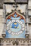Ancient astronomical clock, Autun cathedral. Ancient astronomical clock on the facade of famous Autun cathedral, France Stock Photography