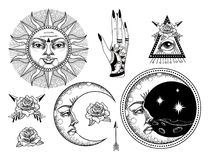 An ancient astronomical illustration of the sun, the moon, the stars, the rose. The eye in the graphic style of the antique royalty free illustration