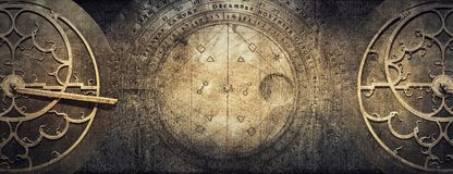 Ancient astronomical instruments on vintage paper background. Ab. Stract old conceptual background on history, mysticism, astrology, science, etc. Retro style stock photo