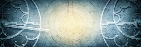 Ancient astronomical instruments on vintage paper background. stock image