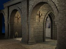 Ancient Asylum. 3D Render of an Ancient Asylum stock illustration