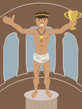 Ancient athlete with olive wreath and cup Stock Photo
