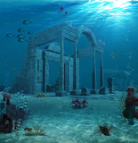 Ancient Atlantis Ruins Underwater. 3d illustration of the sunken ruins of an ancient Atlantis type civilization Royalty Free Stock Image