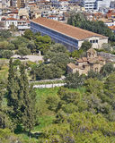 Ancient Attalus stoa and holy Apostles medieval church under Acropolis. Athens Greece Royalty Free Stock Photo