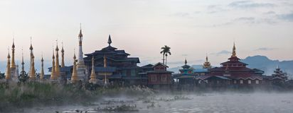 Ancient Aung Mingalar pagoda on Inle lake, Myanmar Stock Image