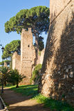 The ancient Aurelian Walls in Rome Stock Image
