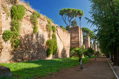 The ancient Aurelian Walls in Rome Royalty Free Stock Photos
