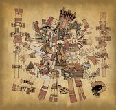 Ancient Aztec Gods on Old Paper. Aztec gods with ancient mesoamerican ornament on old paper Royalty Free Stock Image