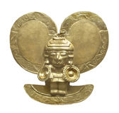 Ancient Aztec Gold Figure Isolated. Stock Image