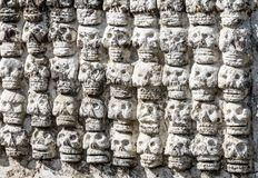Ancient Aztec Skull Wall Templo Mayor Mexico City Mexico. Great Aztec Temple created from 1325 to 1521 when Cortez destroyed Aztec temple stock images