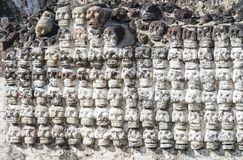 Ancient Aztec Skull Wall Templo Mayor Mexico City Mexico. Great Aztec Temple created from 1325 to 1521 when Cortez destroyed Aztec temple royalty free stock image