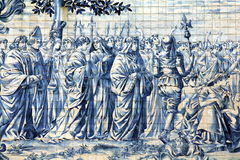 Ancient Azulejo in the city of Porto, Portugal. Royalty Free Stock Photography