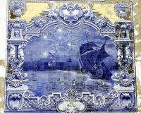 Ancient Azulejo In Lisbon Stock Images