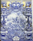 Ancient Azulejo in Lisbon. Picturing a historical battle scene Royalty Free Stock Photography