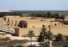 Ancient Babylon in Iraq. Restored ruins of ancient Babylon, Iraq Stock Images