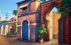 Ancient Babylon. Theatre backdrop featuring a scene of ancient Babylon royalty free illustration