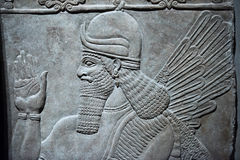 Ancient Babylonia and Assyria bas relief. Ancient Babylonia and Assyria sculpture painting from Mesopotamia Stock Photo