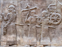 Ancient Babylonia and Assyria bas relief. Ancient Babylonia and Assyria sculpture painting from Mesopotamia Stock Photos