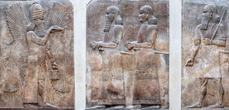 Ancient Babylonia and Assyria bas relief. Ancient Babylonia and Assyria sculpture painting from Mesopotamia Stock Images
