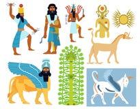 Ancient Babylonian gods, creatures and symbols. A set of 9 Ancient Babylonian gods illustrations including tree of life, creatures and symbols stock illustration