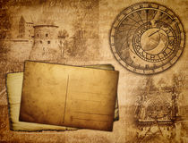 Ancient background. With castles and papers Stock Photos