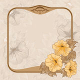 Ancient background with vintage frame. And flowers Stock Image