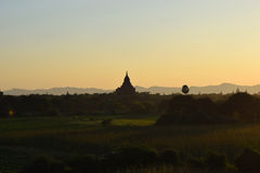 Ancient Bagan temples at sunset, Mandalay, Myanmar. Some of the thousands of temples that are spread across the plains of Bagan. One of the richest Stock Photo