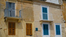 Ancient balconies in the ancient city of Valletta, Malta. Ancient balconies in the ancient city of Valletta, Malta Royalty Free Stock Photos
