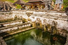 Ancient Balinese Hindu temple fountain. In Elephant Cave National monument on Bali, Indonesia Stock Image