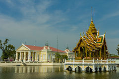 Ancient Bangpain Royal Palace , Ayutthaya in Thailand Royalty Free Stock Images