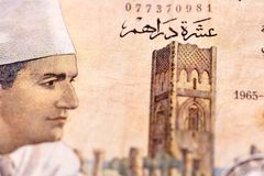Ancient banknotes 100 Mad. Ancient banknotes of the Kingdom of Morocco 10 mad royalty free stock photos
