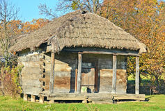 Ancient barn with a straw roof Royalty Free Stock Photography