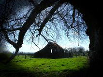 Ancient barn and tree waiting. Peering through bare tree  branches and black vignette at old, apparently abandoned barn.  Uninhabited except by owls and bats Royalty Free Stock Photos