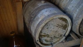 Ancient barrels of wine stood for several decades stock video footage