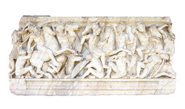 Ancient bas-relief. Bas-relief on the side of the ancient Roman sarcophagus Royalty Free Stock Photography