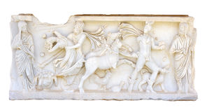 Ancient bas-relief. Bas-relief on the side of the ancient Roman sarcophagus Stock Photography