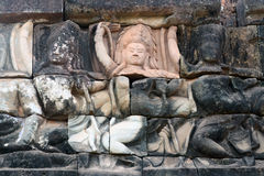 Ancient bas-relief in Angkor Thom, Cambodia Stock Photos