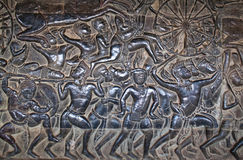 Ancient bas-relief in Angkor Wat, Cambodia Royalty Free Stock Photo
