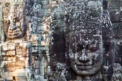 Ancient bas-relief at the Bayon, Cambodia Stock Photo