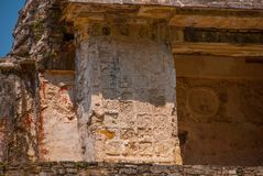 Ancient bas-relief carving Maya people at the Palenque ruinas Chiapas Mexico. The famous archaeological complex royalty free stock photos